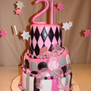 Black silver and pink cake