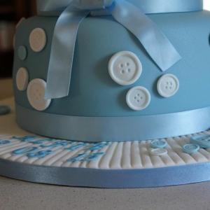 Blue button christening cake