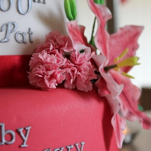 Carnation and lily cake