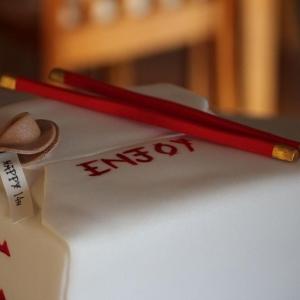 Chinese take away celebration cake