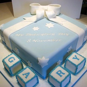 Christening cube cake