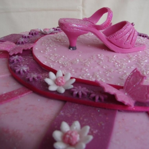 Pink shoe celebration cake
