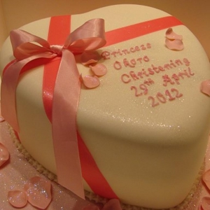 Princess heart christening cake