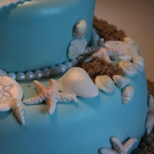 Sea side blue celebration cake