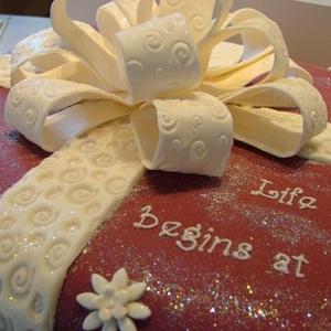 White bow celebration cake
