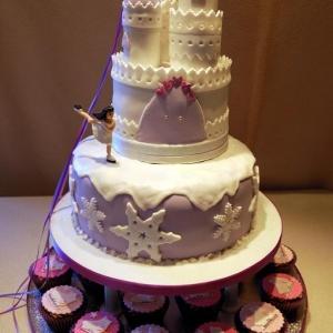 Winter castle celebration cake