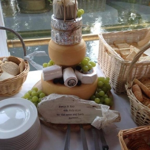 Cheese and grapes wedding cake