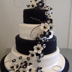 Black and white blossom cascading wedding cake