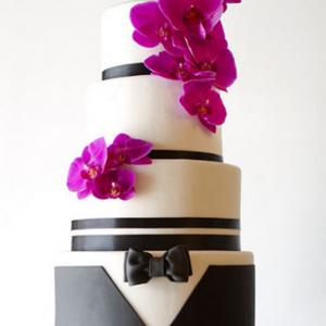 Fresh orchids wedding cake
