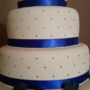 Navy polka dot wedding cake