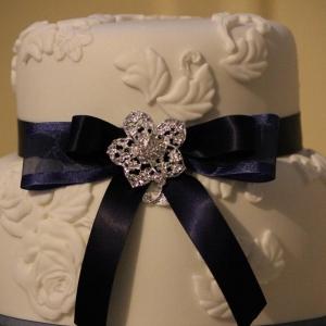 Navy vintage wedding cake
