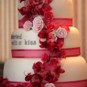Pink roses and fuschia wedding cake