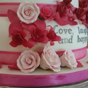 Pink roses and fuschia