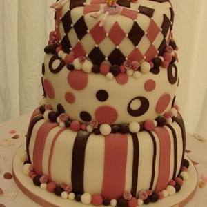 Stripes and spots wonky wedding cake